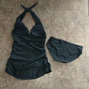 Linkshe Swim - Open Back Solid Black Tankini Set